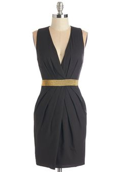 Spiff I Fall in Love Dress - Mid-length, Woven, Black, Gold, Solid, Girls Night Out, LBD, Sheath, Sleeveless, Good, Cocktail, Holiday Party,...