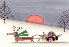 Dachshund Winter Holiday