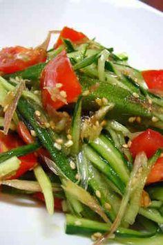 トマト みょうが きゅうり オクラのサラダ Seaweed Salad, No Cook Meals, Japanese Food, Green Beans, Asian Recipes, Diet Recipes, Yahoo, Asian Food Recipes, Healthy Diet Recipes