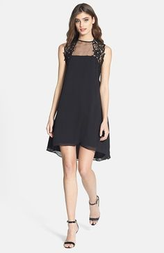 Dress the Population 'Ella' Embellished Yoke High/Low Chiffon Dress available at #Nordstrom - Comes in blush!