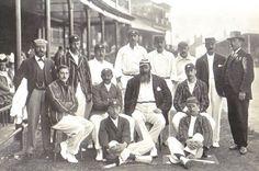 England cricket team at Trent Bridge 1899. Back row: Dick Barlow (umpire), Tom Hayward, George Hirst, Billy Gunn, J T Hearne (12th man), Bill Storer (wkt kpr), Bill Brockwell, V A Titchmarsh (umpire). Middle row: C B Fry, K S Ranjitsinhji, W G Grace (captain), Stanley Jackson. Front row: Wilfred Rhodes, Johnny Tyldesley.