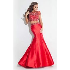 Rachel Allan 7258 Prom Mermaid Dress Long High Neckline Short Sleeve ($558) ❤ liked on Polyvore featuring dresses, gowns, formal dresses, red, two piece prom dresses, long formal dresses, red formal gown, red mermaid gown and red prom dresses