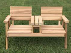 Joined Flat-Seat Handcrafted Hillsfield Tete-e-Tete Bench #palletfurniture #palletideas #pallet #woodenpalletfurniture