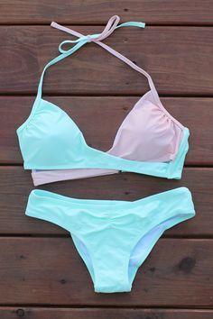 b501e5897a9ec Mint Colorblock Halter Top Cut Out Bikini Swimsuit