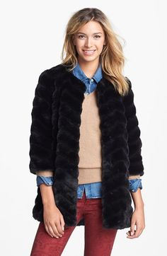 super cute faux fur coat with cropped sleeves  shades of Mad Men style