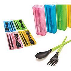 Viaja palillos de plástico desmontables portátiles + cuchara + Tenedor Set con caja de almacenamiento (color al azar)