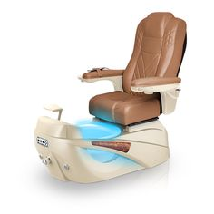 Luminous pedi-spa shown in Cappuccino Ultraleather cushion, Champagne base, Aurora LED Color-Changing bowl (shown in blue)