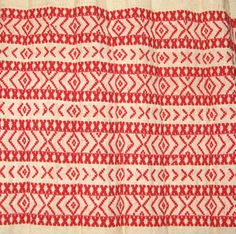 croatian womans costume, wrong side of apron weaving