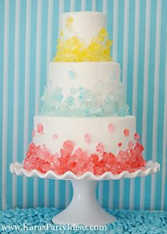 This would make for an awesome wedding cake! That's rock candy on that cake! How cool is that?