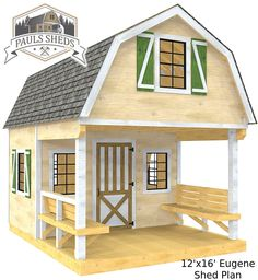 """The """"Eugene"""" Shed Plan features two levels, built in benches, overhead loft and gambrel roof.  Download the plan today!"""