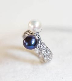 black and white pearl ring 925 sterling silver  ring  double