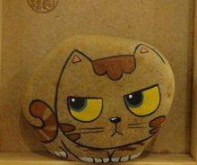 Original hand-painted stone stone Fun tribal painted cat gift ideas(China (Mainland))