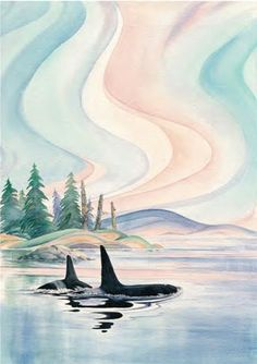 One of the images that Oscardo in Toronto has on umbrellas is being considered for an art-card this spring. Native Art, Native American Art, Art And Illustration, Orca Kunst, Painting Inspiration, Art Inspo, Whale Art, Whale Song, Orca Art
