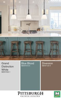 Create a modern farmhouse kitchen with this color palette from Pittsburgh Paints & Stains®! The white of the cabinets keeps the room bright while the rustic colored bar stools paired with a muted blue create a comfortable atmosphere.