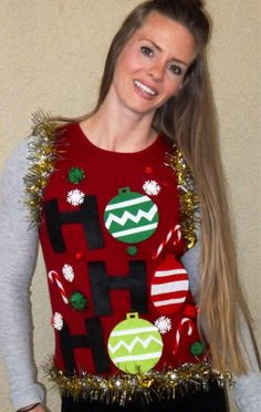 Ugly Christmas Sweater product is great for those Ugly Christmas Sweater parties! This is a Ugly Christmas Sweater Vest that says Ho HO HO with ornaments. It comes in Red or Grey with Christmas colors Be sure to check out my other Holiday Ugly Christmas Sweaters I offer in the Ugly Sweater Category! Theres a lot of Naughty or Nice Sweaters to celebrate the holidays! :D SHIPPING: I ship priority mail which includes tracking and insurance. Shipping takes 2-3 days Domestic. The processing…