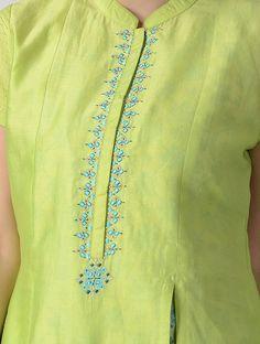 Green-Teal Embroidered Silk Chanderi Kurta with Slip (Set of Hand Embroidery Dress, Kurti Embroidery Design, Embroidery Neck Designs, Embroidery Fashion, Neck Designs For Suits, Neckline Designs, Fancy Blouse Designs, Dress Neck Designs, Kurta Designs Women