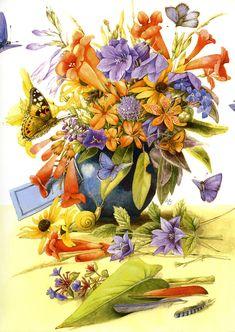 Artist ~ Marjolein Bastin - floral arrangement w/butterflies from August 2009 Calendar
