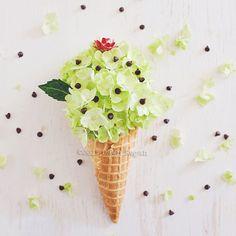 Floral Ice Cream Cone Hydrangea Art Floral by LadyByTheBay
