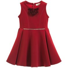 Monnalisa Chic, girls elegant red sleeveless dress made in soft neoprene. A fitted bodice, with tuck pleating on the side of the flared skirt, a row of beautiful diamanté across the front and a concealed zip fastener on the back. It comes with a detachable rose corsage style brooch with a pin fastener, allowing you to choose where to place it on the dress. <br /> <ul> <li>96% polyester, 4% elastane (soft neoprene feel)</li> <li>Machine wash (30*C)</li> <li>Unlined</li> <l...