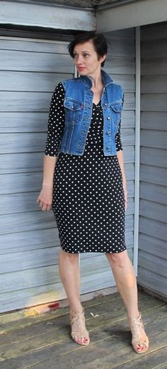 Sveta in flop proof frock and denim topper with leg lengthening sandals.