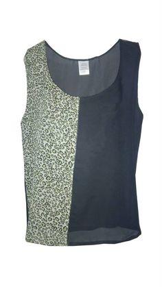 Blusa mitad color negro mitad animal print