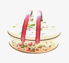 Vintage Tin Box, Pink Handle Strawberry Metal Basket