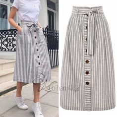 çizgili etekler, striped skirts, fashion skirts, burdastyle skirts How To Be A Leather Blouse Mix Trendy Dresses, Women's Dresses, Trendy Outfits, Cool Outfits, Girly Outfits, Skirt Outfits, Hijab Fashion, Fashion Outfits, Fashion Skirts