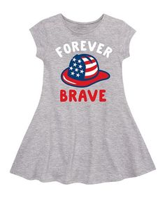 This Athletic Heather 'Brave' Fit & Flare Dress - Toddler & Girls by Instant Message is perfect! #zulilyfinds
