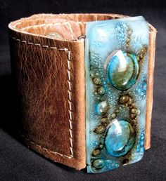 leather and fused glass bracelet