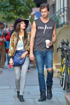 Victoria Justice and Pierson Fode on a set in New York City on October 15, 2013...