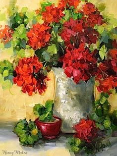 Abiding Love Red Geraniums by Texas Flower Artist Nancy Medina, painting by artist Nancy Medina
