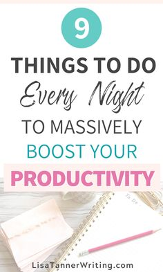 Want to know how to be more productive as a busy mom? One strategy is to end every night off right so you can be more prepared for the next day. I share 9 practical tasks I do daily to give you motivation to create your best night routine - designed for Productive Things To Do, Productive Day, Evening Routine, Night Routine, Morning Routines, Bedtime Routine, Improve Productivity, Time Management Tips, List