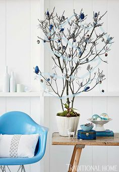 """Good idea for small spaces.  Like the """"vignette"""" idea with the bowls of balls/pinecone and the simplicity of the tree decorations Decorating: Christmas Trees - Traditional Home®"""