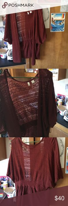 Sheer burgundy pattern throw Anthropologie , perfect to throw over on a light sunny day, cinched at waist Anthropologie Sweaters Shrugs & Ponchos