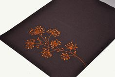 Orange Floral Placemats Set of Dark Brown Linen Placemat Flower Embroidery, Floral Table Linen, Fabric Placemats, Wedding Gift, Table top Hand Embroidery Designs, Embroidery Art, Embroidery Patterns, Flower Embroidery, Wedding Embroidery, Draps Design, Gift Table Wedding, Wedding Gifts, Interfacing Fabric
