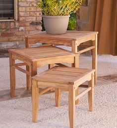 3-Piece Indoor/Outdoor Teak Nesting Table Set | Teak Furniture
