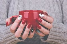 Love these polka dot nails. Love these polka dot nails. Black Nail Designs, Pretty Nail Designs, Acrylic Nail Designs, Acrylic Nails, Black And White Nail Art, White Nails, Black Art, Nail Paint Shades, Nail Art Blanc