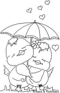 Birds hugging under an umbrella