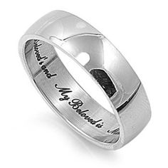 "Men or Womens Stainless Steel Ring Religious & Inspirational Stainless Steel Ring - Inscribed "" I Am My Beloved's and My Beloved is Mine."" Face and Band Width: 6mm. Finish: High Polished Size 5 BRIGHT001,http://www.amazon.com/dp/B00CFRCR3O/ref=cm_sw_r_pi_dp_Dtf7sb0FWKEAQPN3"