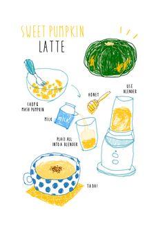 Pumpkin Latte Recipe, Cartoon Recipe, Food Illustrations, Illustration Art, Recipe Drawing, Sketch Note, Food Doodles, Pinterest Instagram, Food Sketch