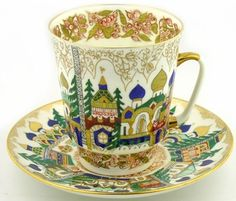 "Vorobievsky Collectible Porcelain: ""Old Russia"" Coffee Cup and Saucer"