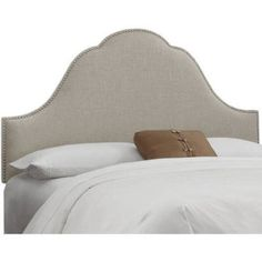 Arch Nail Button Headboard, Multiple Sizes and Colors, Beige