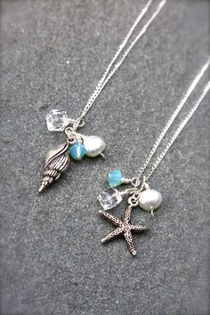 Sterling silver necklace with silver starfish by HollyMackDesigns, $35.00