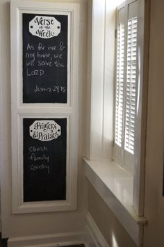 A cute new way to memorize your verse of the week & remember your prayers & praises! This Very large old wooden cabinet - turned chalkboard is ready with