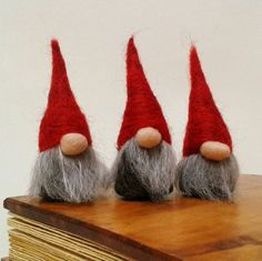 Needle Felted Miniature Gnomes Tomte Nisse Swedish by FeltbyLisa Christmas Gnome, Christmas Crafts, Christmas Decorations, Scandinavian Gnomes, Scandinavian Christmas, Norwegian Christmas, Felt Fairy, Felting Tutorials, Felt Crafts