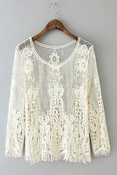 Love this White Lace Pullover! White Lace Long Sleeve Round Neck Lace Hollow Tassel Blouse