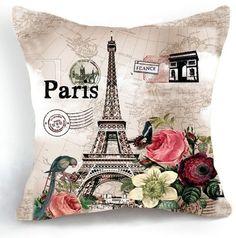OJIA Retro Vintage Paris Eiffel Tower Home 18 X 18 Inch Cotton Linen Decorative Throw Cushion Cover / Pillow Sham