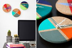 How to Turn Cork Trivets into Color Block Clocks via Brit + Co. This project uses Walnut Hollow Clock Movements!