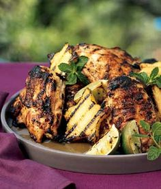 Mojito-marinated Chicken Breasts on the grill
