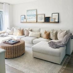 Get inspired by Coastal Living Room Design photo by Room Ideas. Wayfair lets you find the designer products in the photo and get ideas from thousands of other Coastal Living Room Design photos. Coastal Living Rooms, Home Living Room, Living Room With Sectional, Cottage Living, Natural Living Rooms, Room And Board Living Room, Coffee Table For Small Living Room, Modern Living Rooms, White Couch Living Room